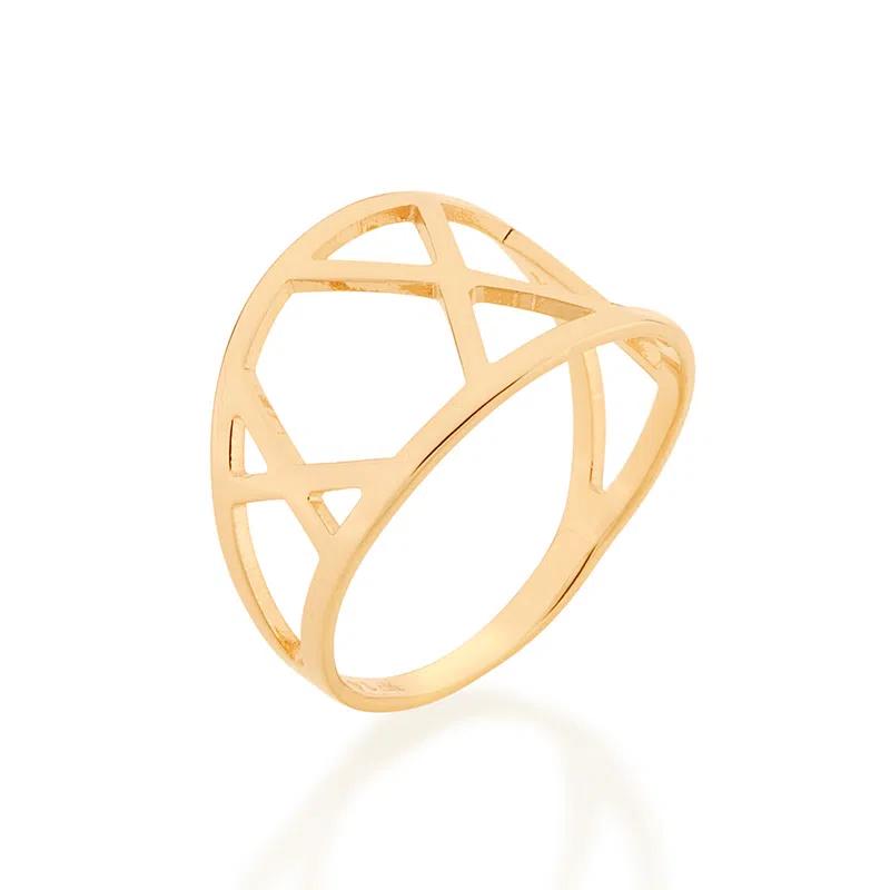 Anel Rommanel geométrico folheado a ouro 512861
