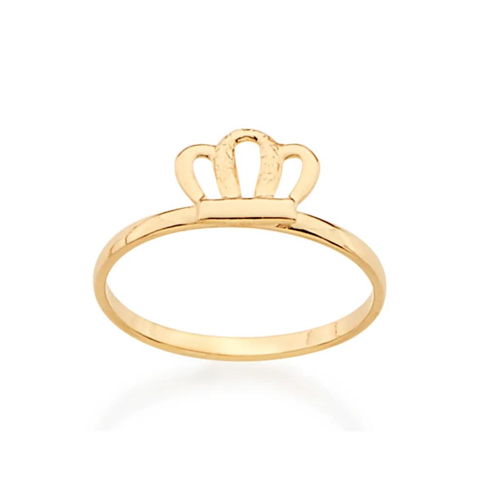 Anel Rommanel  infantil skinny ring folheado a ouro com coroa 511816