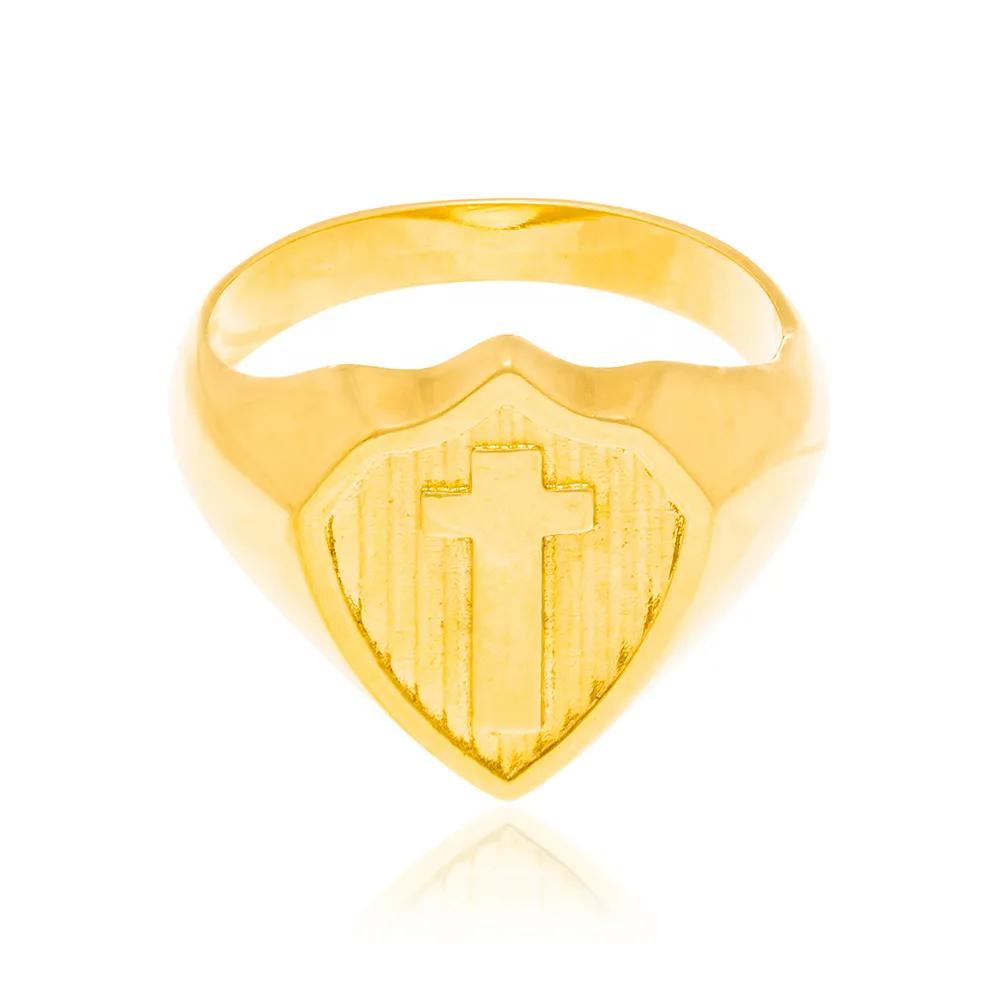 Anel masculino rommanel 512734 escudo em cruz