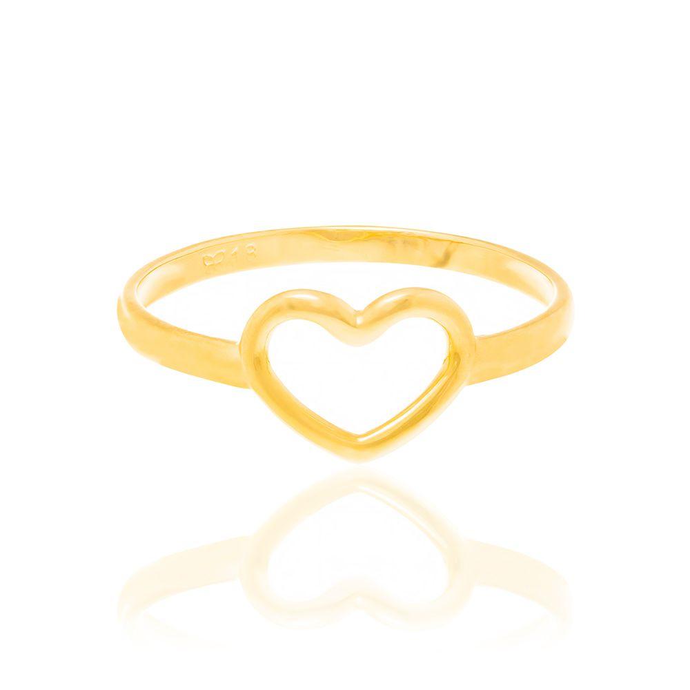 Anel Rommanel folheado a ouro com coração vazado 512711