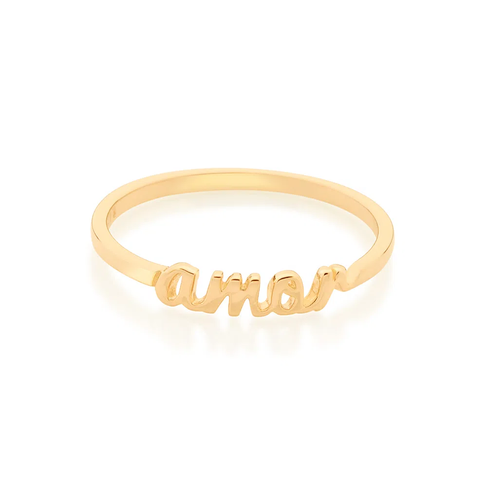 Anel Rommanel skinny ring amor folheado a ouro 512887