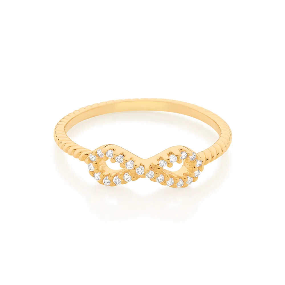 Anel Rommanel skinny ring infinito folheado a ouro com zircônias 512885