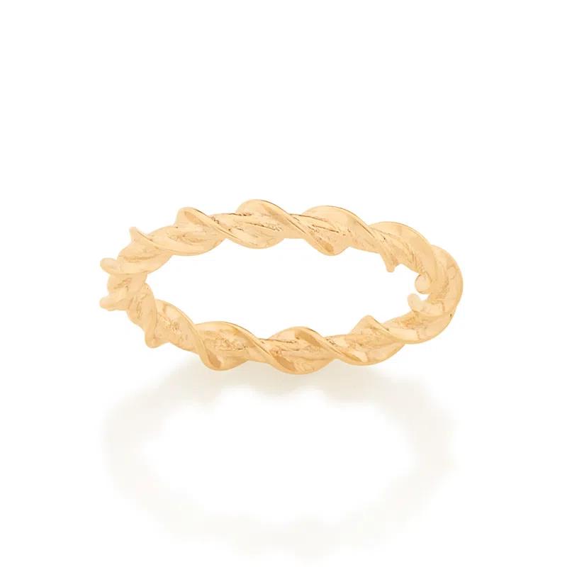 Anel skinny ring torcido folheado a ouro 512892