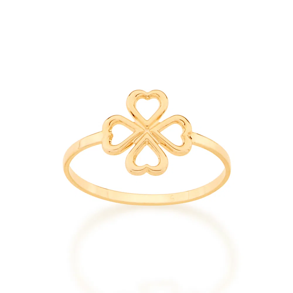 Anel Rommanel skinny ring trevo de 4 folhas folheado a ouro 512875