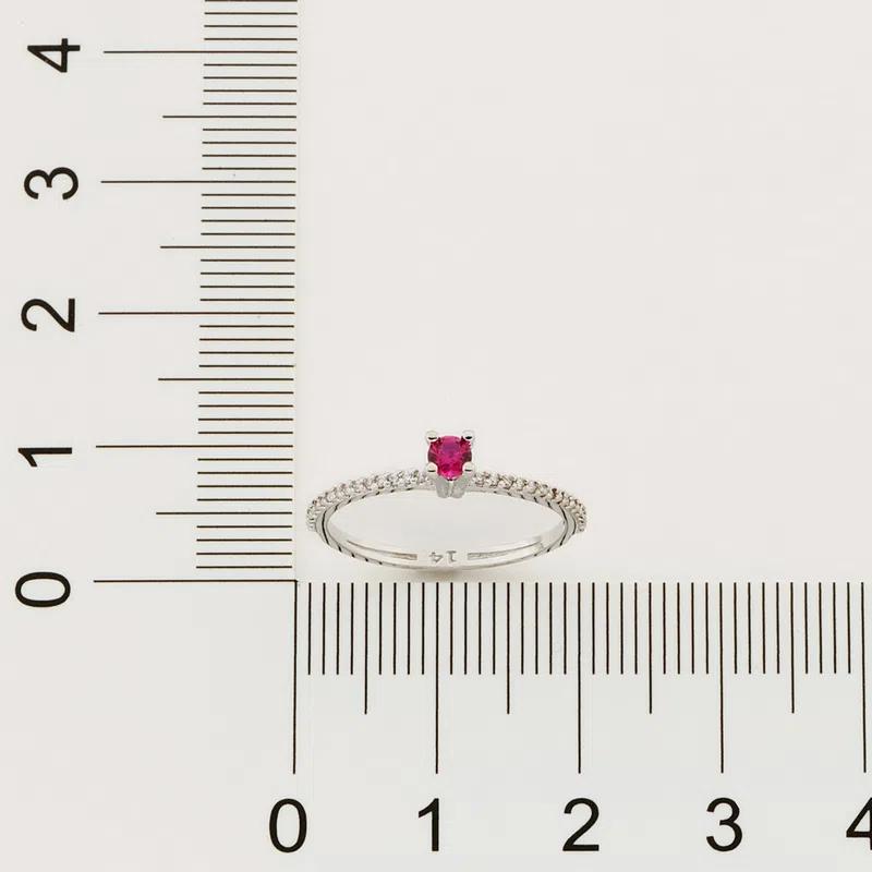 Anel Rommanel solitário com aro de zircônia branco e rosa 512902A
