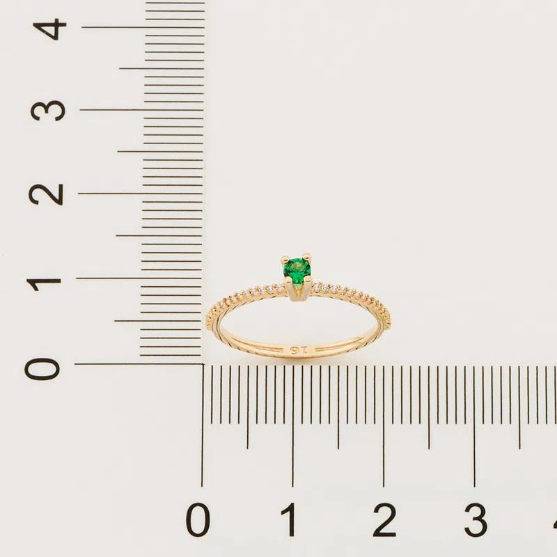 Anel Rommanel solitário com zircônias folheado a ouro 512902B