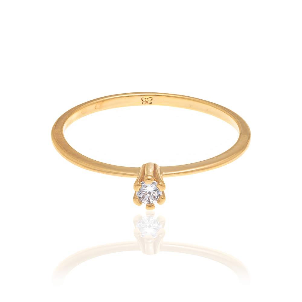 Anel solitário Rommanel folheado a ouro com zircônia 512180