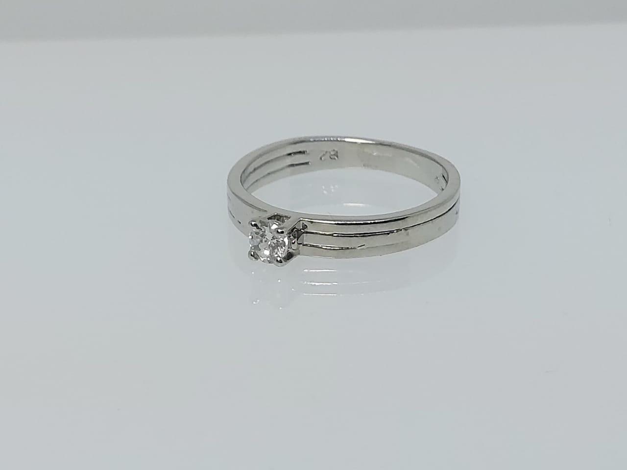 Anel Solitário Zircônia Diamante GC 0451811020035 Folheado a Rhodium