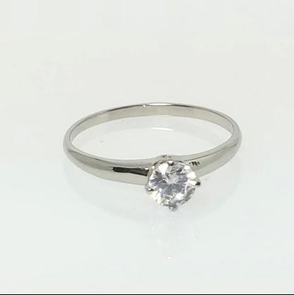 Anel Solitário Zircônia Diamante GC Folheado a Rhodium 0451816020450