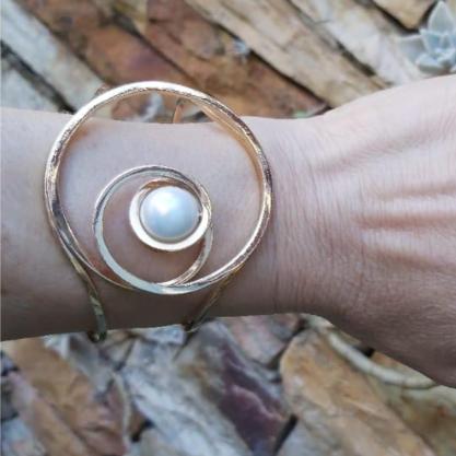 Bracelete GC 3D com Pérola Folheado a Ouro CR4487BCDR