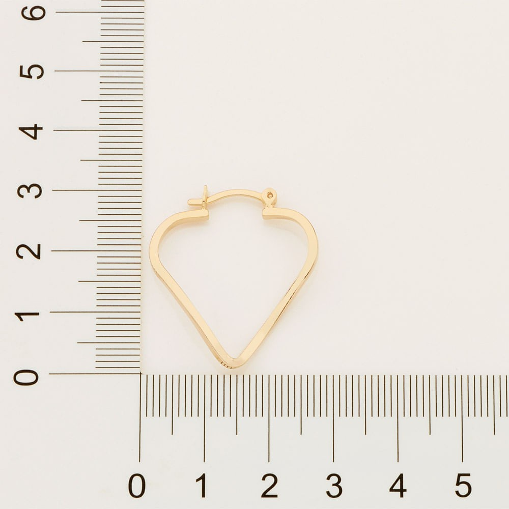 Brinco argola coração folheado a ouro rommanel 523831