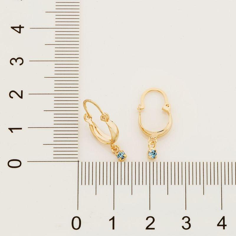 Brinco argola folheado a ouro cristal azul Rommanel  5232010003