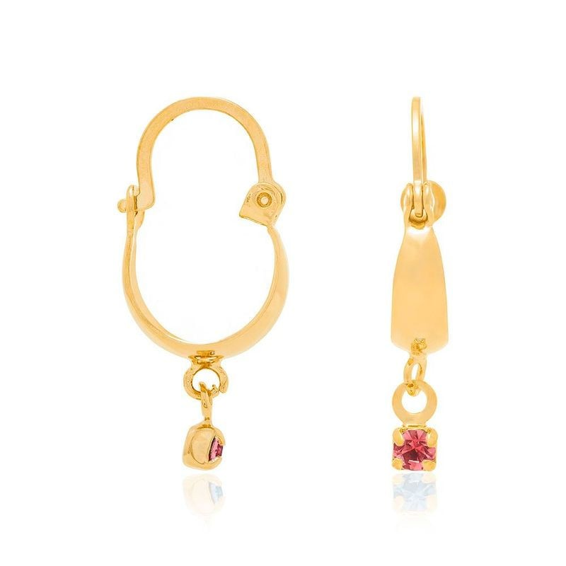 Brinco argola folheado a ouro cristal rosa rommanel 523201