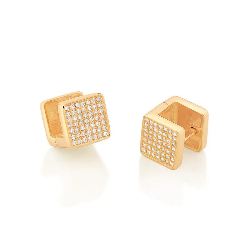 Brinco Rommanel  argola quadrada folheado a ouro com zircônias 526505