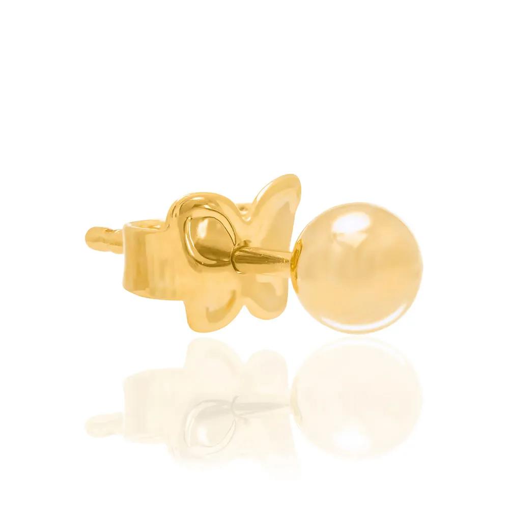 Brinco Rommanel  bola Folheado a ouro lisa 520246 med. 0,4 mm diâmetro
