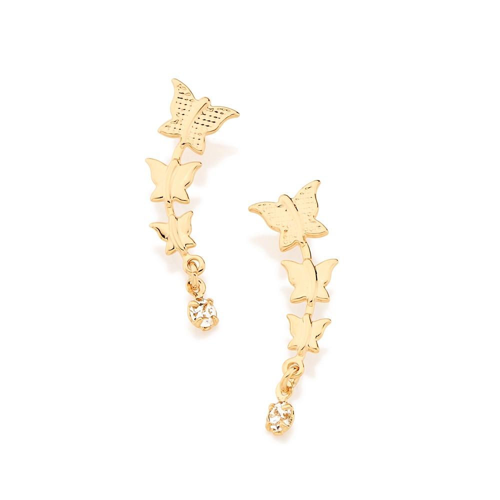 Brinco borboleta folheado ouro com cristal rommanel 524618