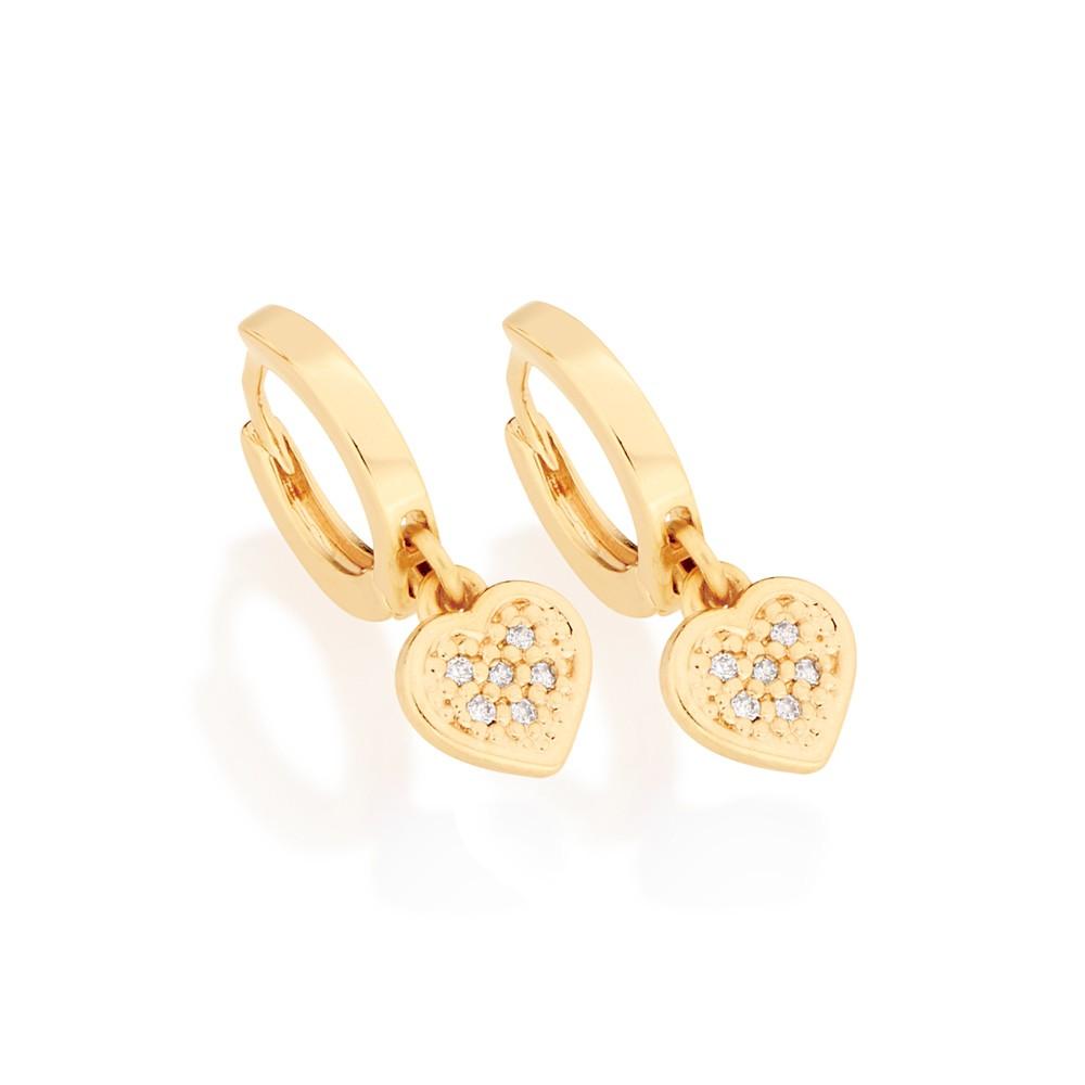 Brinco coração folheado a ouro com zircônias rommanel 524045
