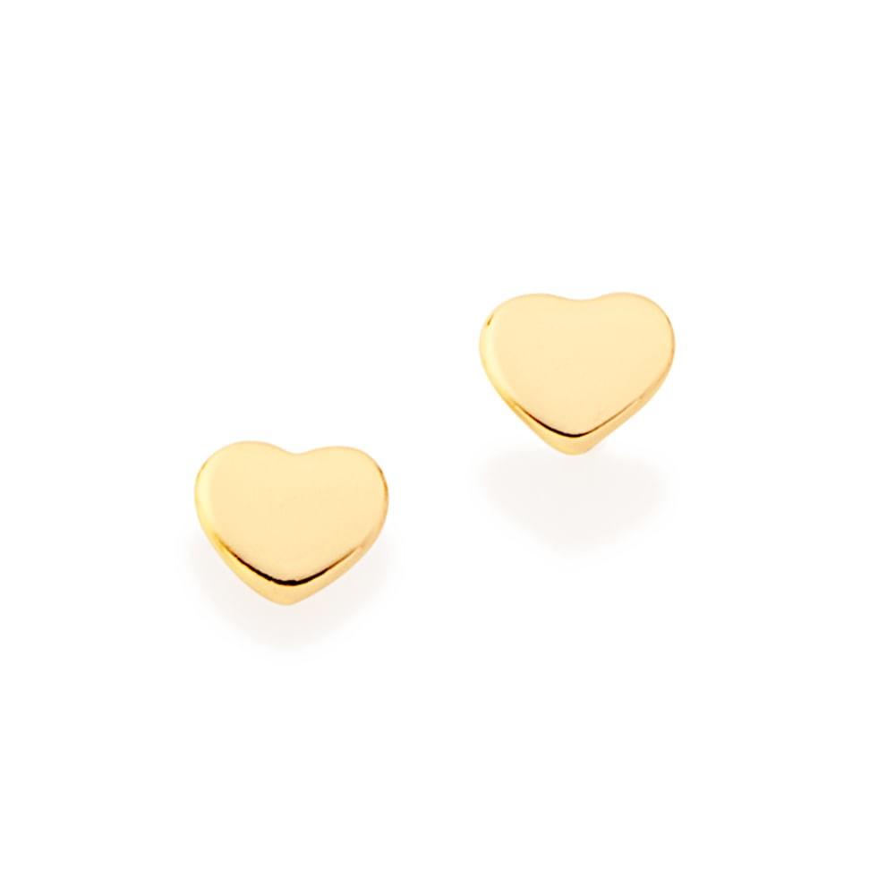 Brinco corações Rommanel folheado a ouro 522928 2º furo
