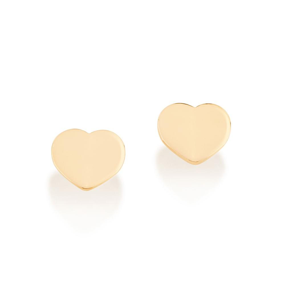 Brinco corações Rommanel folheado a ouro 526408 med.0,6 x 0,7 cm