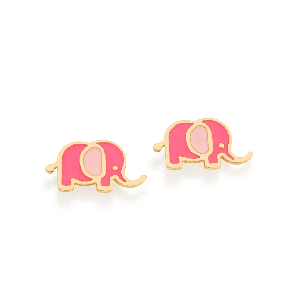 Brinco Rommanel  elefante rosa 526492 med. 0,8 x 1,50 cm
