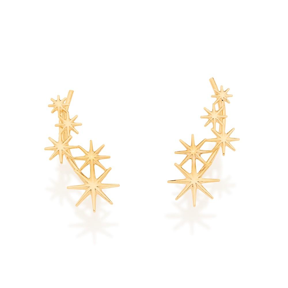 Brinco estrela folheado a ouro rommanel 525675
