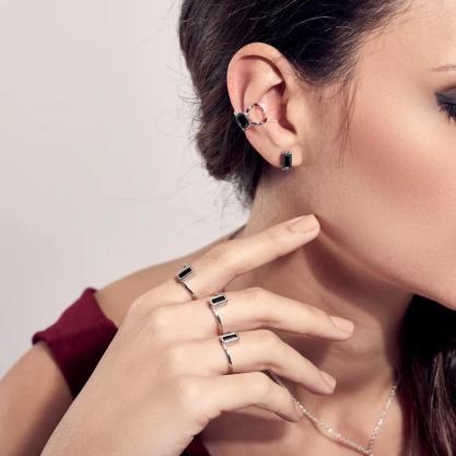 Brinco feminino rommanel 121708 piercing rhodium com cristal mario queiroz