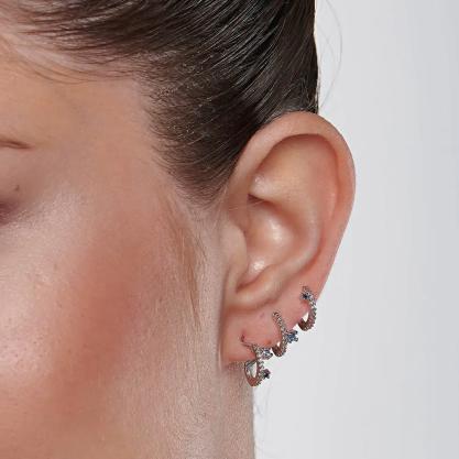 Brinco feminino rommanel 121773 ear cuff rhodium med. 3,0 x 1,0 cm