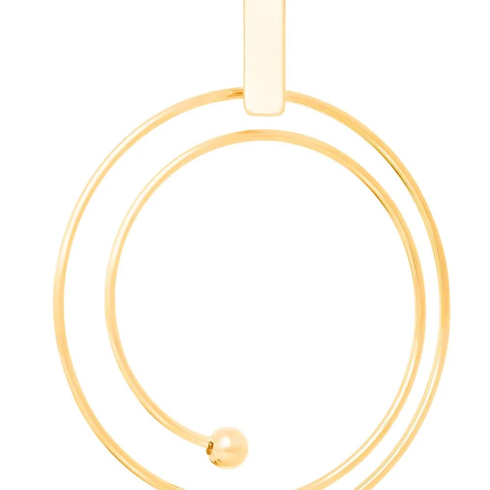 Brinco Rommanel 523076 Fio Aspiral com Bolas Med. 4,5 x 3,5 cm