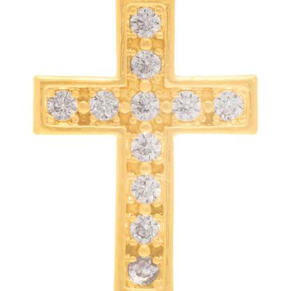 Brinco Rommanel 524604 cruz com zircônias med. 1,2 x 0,9 cm