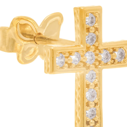Brinco feminino rommanel 524604 cruz com zircônias med. 1,2 x 0,9 cm