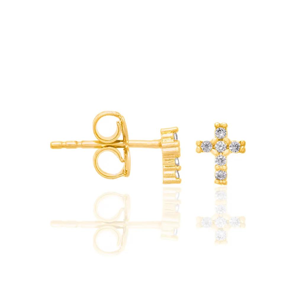 Brinco Rommanel 526311 cruz com zircônias med. 0,60 x 0,40 cm