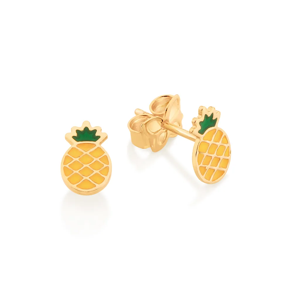 Brinco feminino rommanel 526421 abacaxi med. 0,9 x 0,50 cm