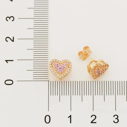 Brinco feminino rommanel 526510 coração com zircônias simone & simaria