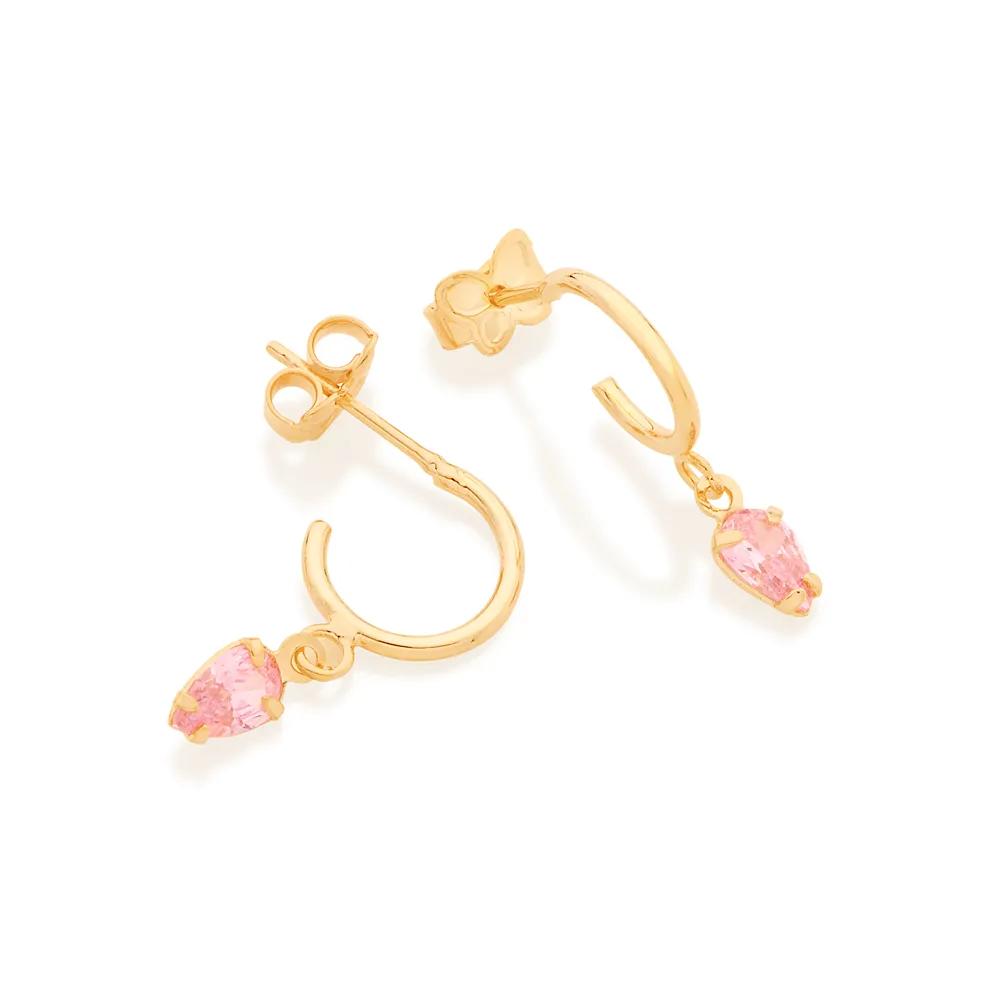Brinco feminino rommanel 526514 meia argola com zircônia rosa med.2,0 x 1,0 cm