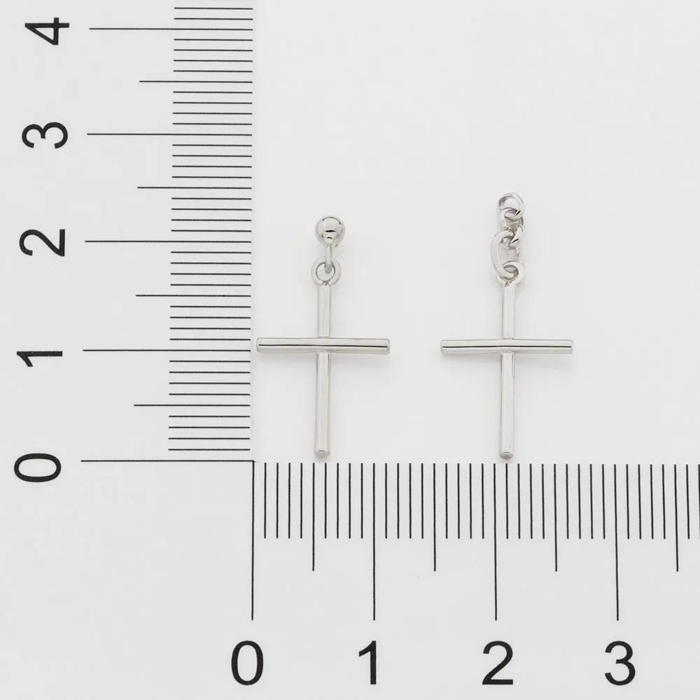 Brinco Rommanel cruz 121782 rhodium med. 2,5 x 1,10 cm