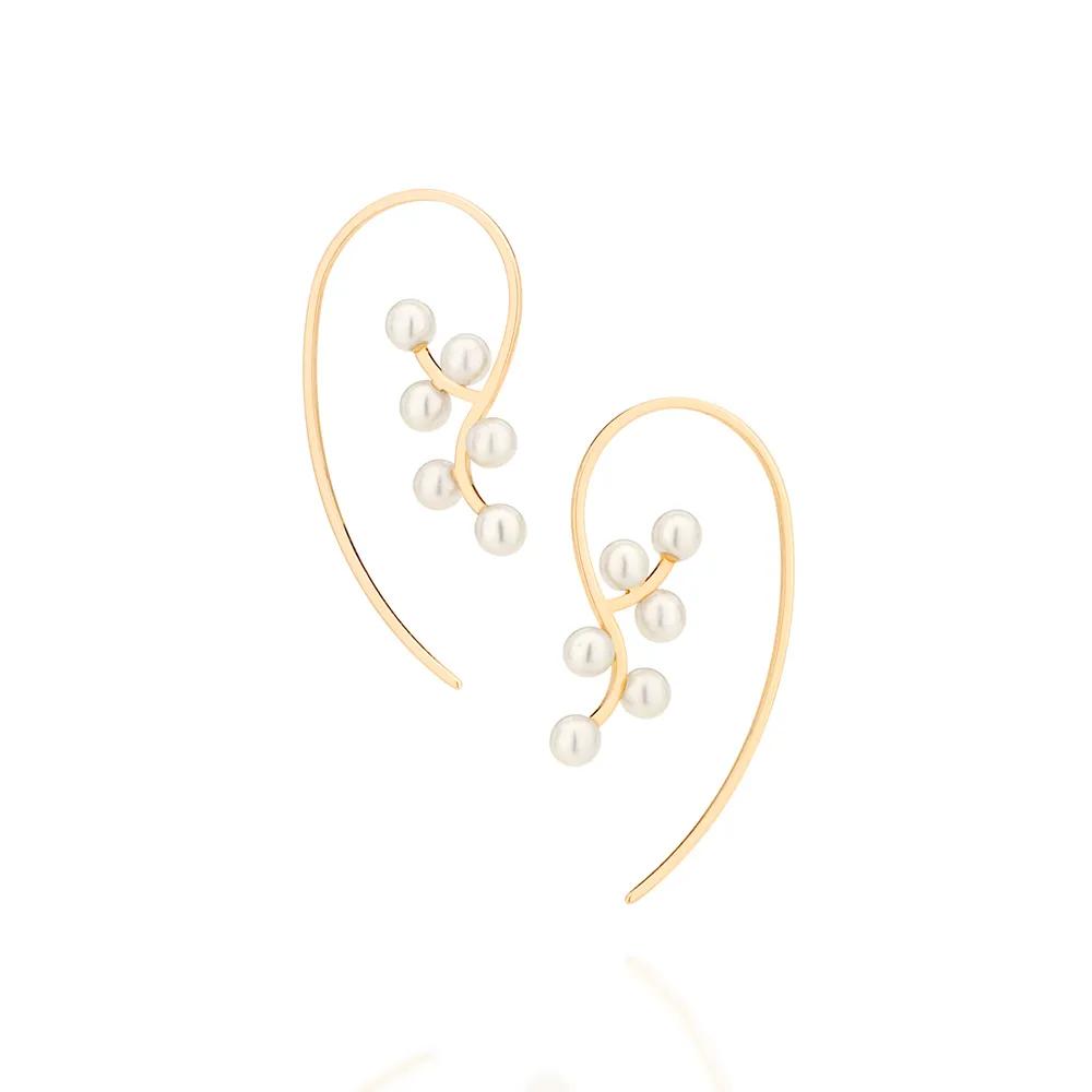 Brinco feminino rommanel pérolas 526429 med. 4,0 x 2,0 cm