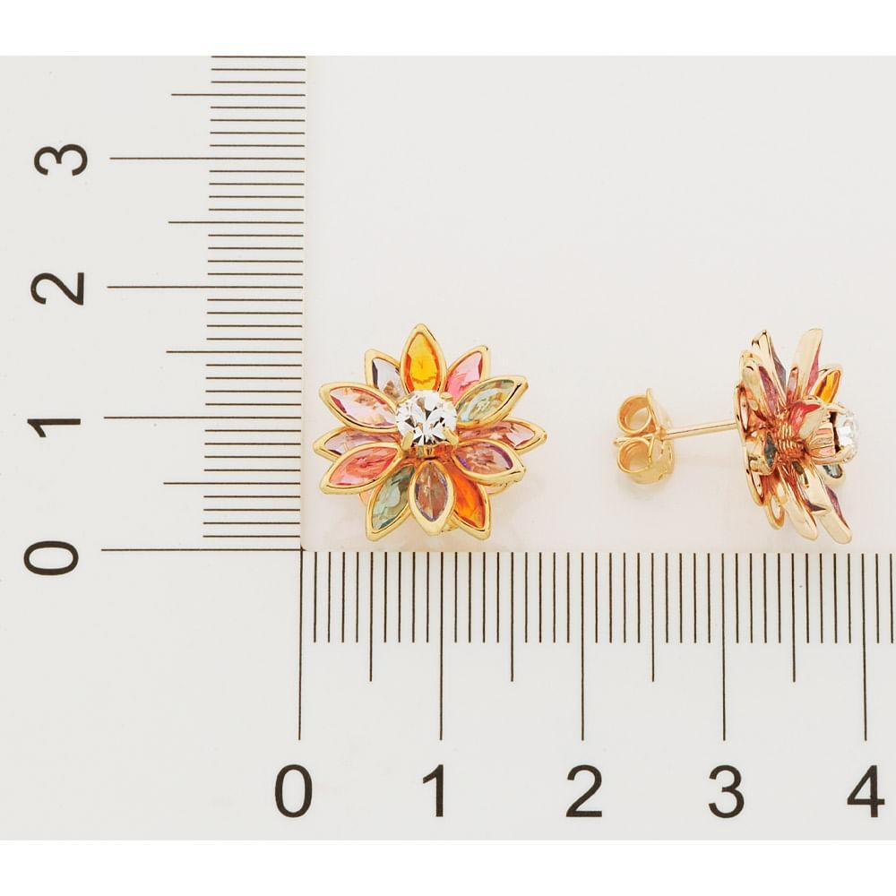 Brinco flor folheado a ouro com cristais rommanel  523163
