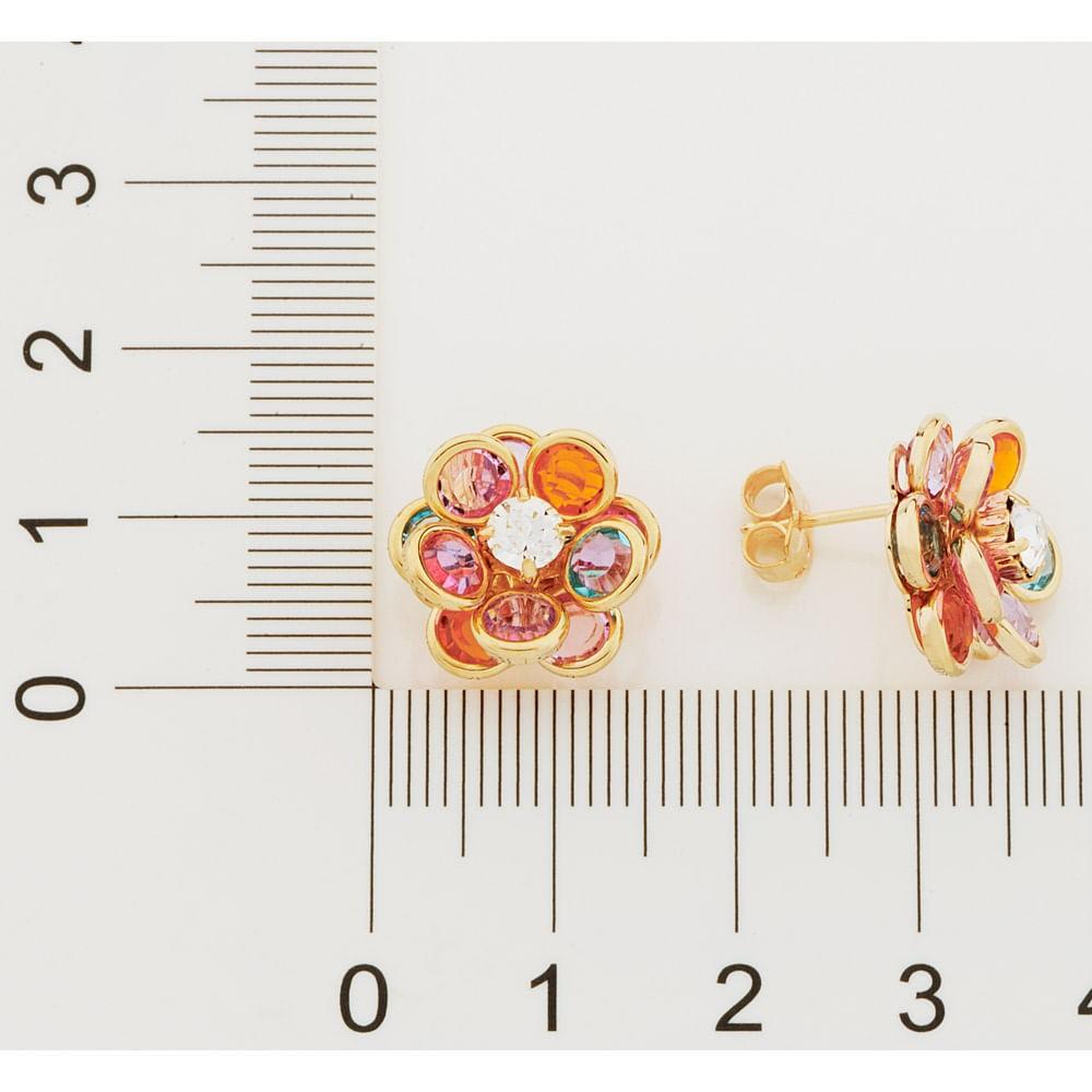 Brinco folheado a ouro flor cristais rommanel 523162