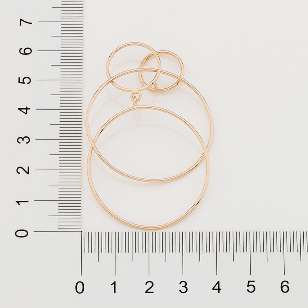Brinco folheado a ouro formado por círculos rommanel 526345