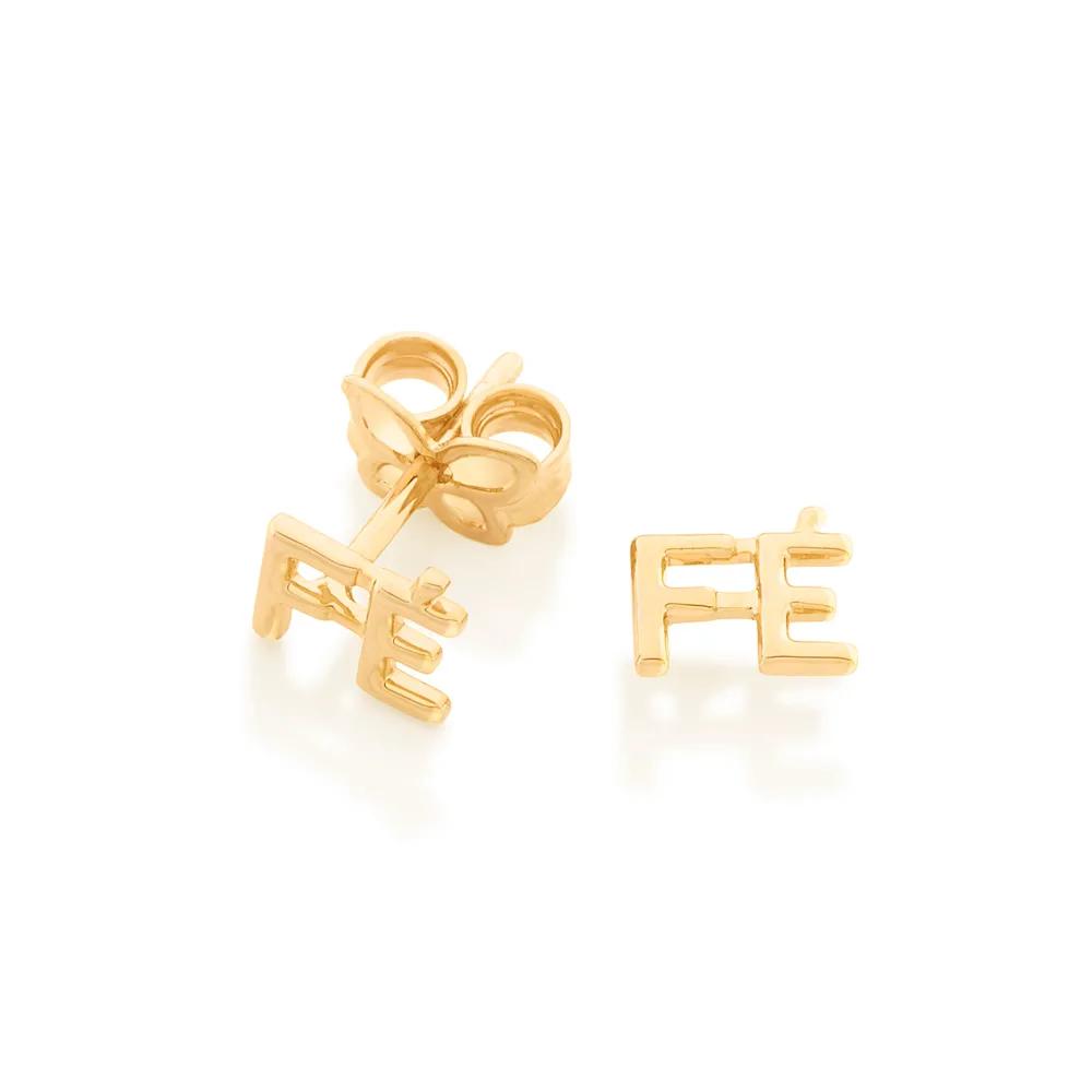 Brinco Rommanel FÉ folheado ouro formado 526449 med 0,50 cm x 0,60 cm