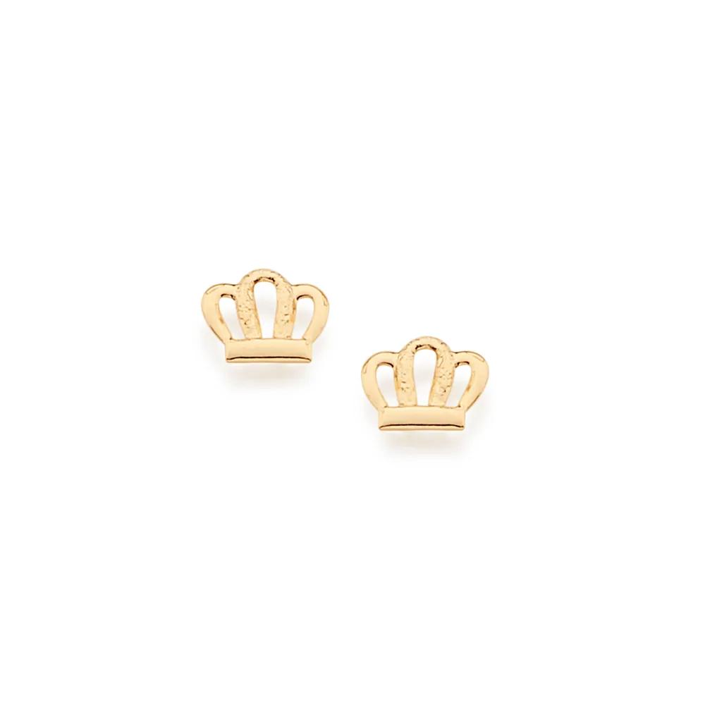 Brinco Rommanel  infantil folheado a ouro coroa 524948