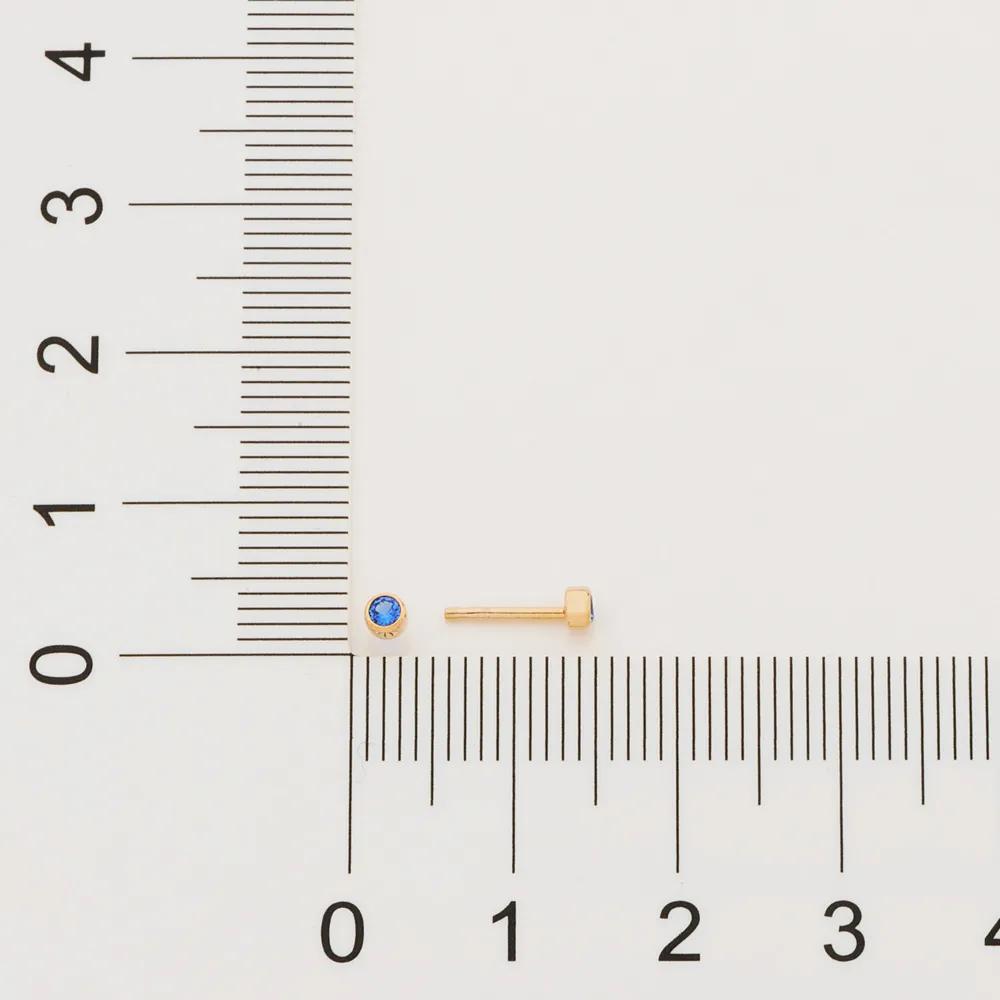 Brinco Rommanel 526384 solitário com zircônia segundo furo