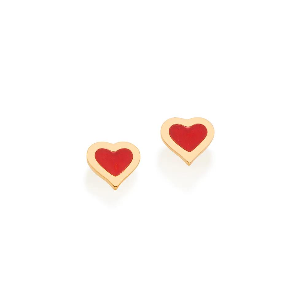Brinco Rommanel infantil 526394 coração med. 0,5 x 0,60 cm