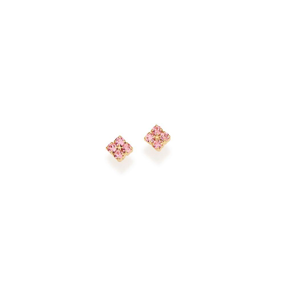 Brinco infantil Rommanel folheado a ouro com cristal rosa 525118