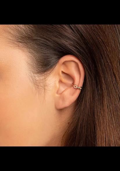 Brinco Rommanel piercing de pressão feminino infinito 526484