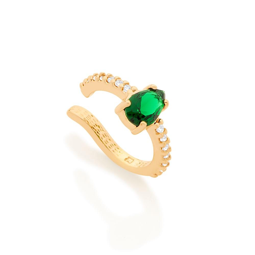 Brinco piercing de pressão folheado a ouro com cristal e zircônias Rommanel 5263400011VD