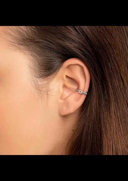 Brinco Rommanel piercing de pressão infinito feminino rhodium 121792