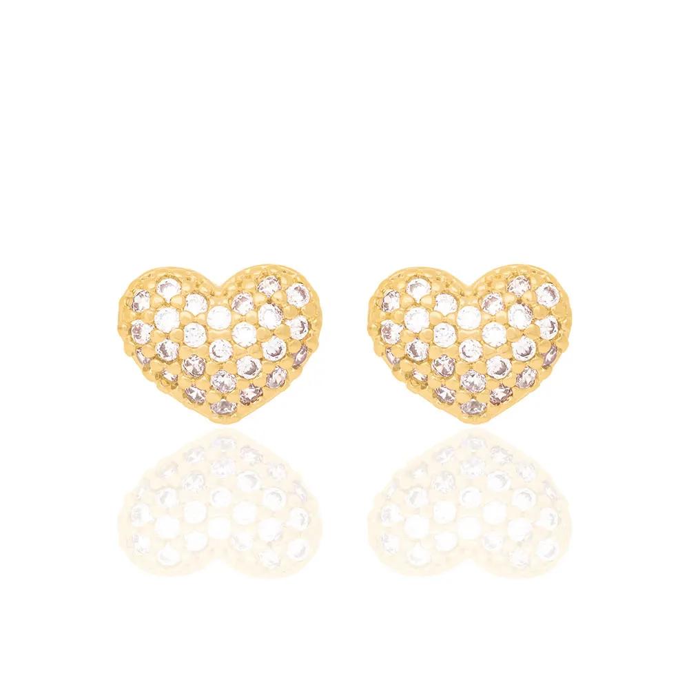 Brinco Rommanel 523989 coração com zircônias folheado a ouro