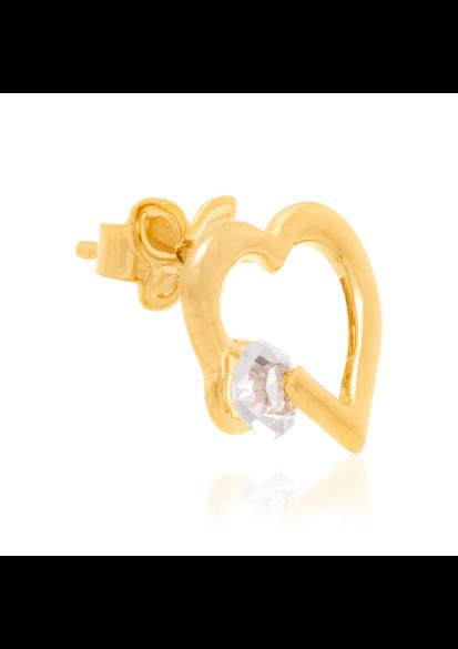 Brinco Rommanel 524177 corações com cristais folheado a ouro