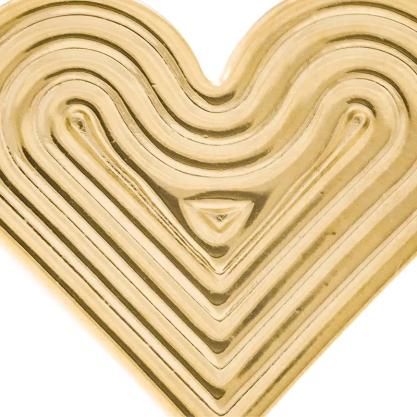 Brinco Rommanel 525836 folheado a ouro coração